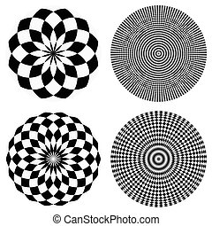 Elements with checkered marble-like circular pattern....