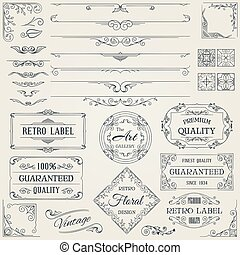 elements2, デザイン, レトロ, calligraphic