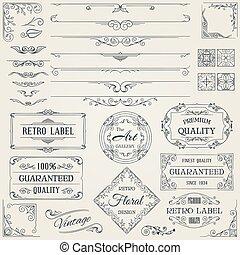 elements2, ontwerp, retro, calligraphic