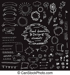 elements:ornaments, ensemble, floral., vecteur, conception, main, dessiné