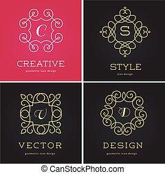 elementy, abstrakcyjny, ikony, zbiór, geometryczny, układa