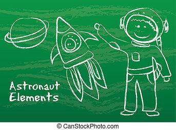 elementy, astronauta