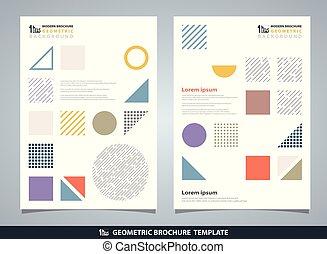 elementy, barwny, abstrakcyjny, nowoczesny, pattern., geometryczny, projektować, brochure., geometryczny