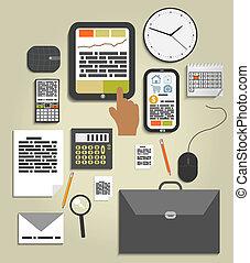 elementy, biuro, handlowy, praca, komplet, miejsce pracy