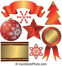 elementy, boże narodzenie, zbiór, projektować, czerwony