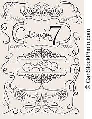 elementy, calligraphic, ozdoba, wektor, projektować, strona, set: