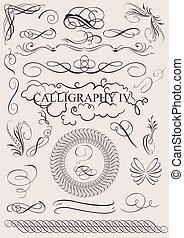 elementy, calligraphic, ozdoba, wektor, projektować, strona...