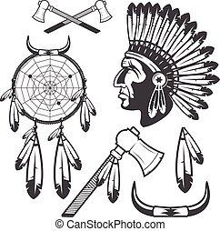 elementy, clipart, ikony, odizolowany, amerykański indianin, tło, biały
