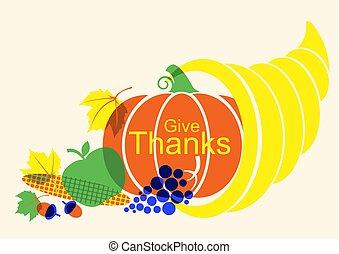 elementy, cornucopia, afisz, dziękczynienie, jesień, szczęśliwy, dzień, dynia