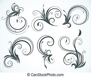 elementy, dekoracyjny, kwiatowy