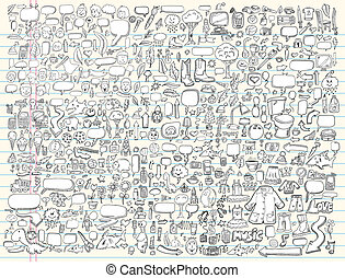 elementy, doodle, komplet, wektor, projektować