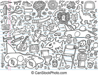 elementy, doodle, notatnik, projektować