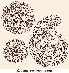 elementy, doodle, wektor, projektować, henna
