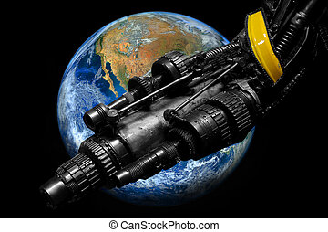 elementy, dostarczony, , armata, maszynowa część, mechanizm,...