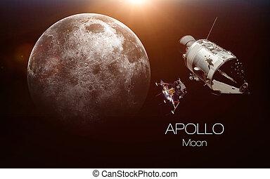 elementy, dostarczony, to, wizerunek, -, spacecraft., nasa., księżyc, apollo