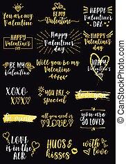 elementy, dzień, projektować, bilety, wektor, list miłosny