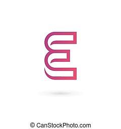 elementy, e, litera, projektować, szablon, logo, ikona
