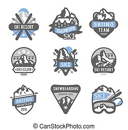 elementy, etykiety, uciekanie się, wektor, logo, emblematy, narta, symbole