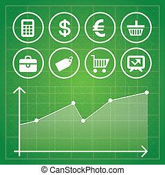 elementy, finanse, handlowy, komplet, wektor