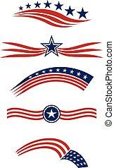 elementy, gwiazda, usa, ikony, pasy, bandera, wektor, projektować, logo