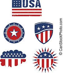 elementy, gwiazda, usa, vecto, bandera, projektować