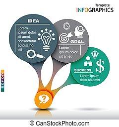 elementy, handlowy, szablon, infographics