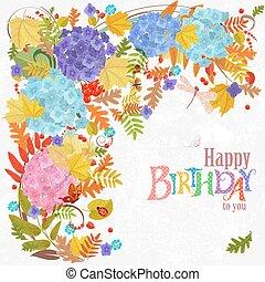 elementy, jesień, kwiatowy, zaproszenie, hap, twój, karta, design.