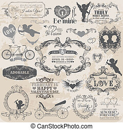 elementy, miłość, valentine, rocznik wina, -, wektor, projektować, album na wycinki, wystawiany zamiar