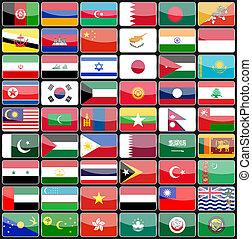 elementy, od, projektować, ikony, bandery, od, przedimek określony przed rzeczownikami, kraje, od, asia.