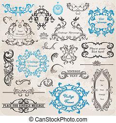 elementy, ozdoba, ułożyć, zbiór, calligraphic, wektor,...
