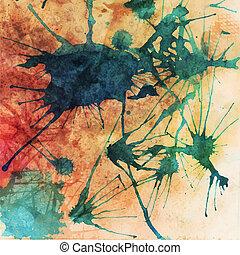 elementy, pociągnięty, ilustracja, abstrakcyjny, tło, ręka, akwarela, paper., kolor, akwarele, mokry, album na wycinki, brudzić, skład