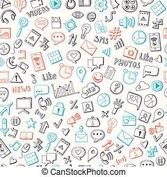 elementy, pociągnięty, media, ręka, wektor, tło, towarzyski, próbka