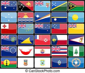 elementy, projektować, ikony, bandery, od, przedimek określony przed rzeczownikami, kraje, od, australia, i, oceania.