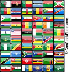 elementy, projektować, ikony, bandery, od, przedimek określony przed rzeczownikami, kraje, od, afryka.