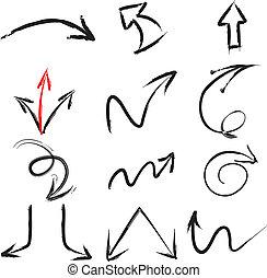 elementy, ręka, malować, uderzenie, szczotka, strzała
