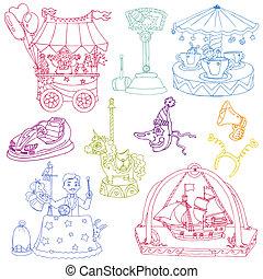 elementy, rocznik wina, cyrk, -, ręka, wektor, pociągnięty, doodles, set: