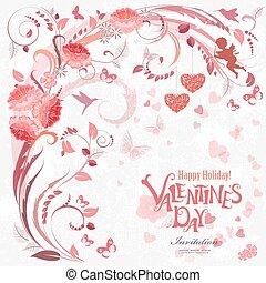 elementy, romantyk, projektować, zaproszenie, kwiatowy, twój, karta