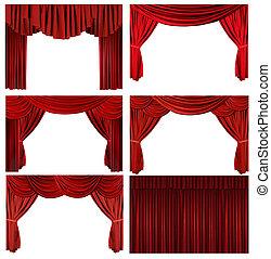 elementy, stary, elegancki, dramatyczny, modny, teatr, czerwony, rusztowanie