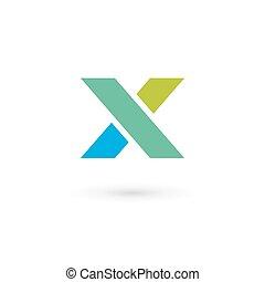 elementy, szablon, x, logo, ikona, litera, projektować