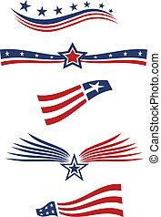 elementy, usa, projektować, bandera, gwiazda