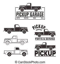 elementy, wóz, od-drogi, pickup samochód, logo, 4x4