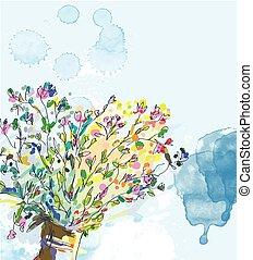 elementy, wiosna, -, akwarela, projektować, tło, kwiatowy