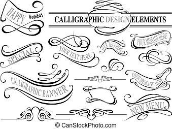 elementy, zbiór, calligraphic