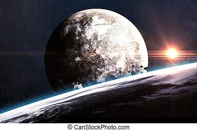 elementy, zewnętrzny, piękno, dostarczony, wszechświat, pokaz, przestrzeń, galaktyki, scena, nasa, gwiazdy, planety, exploration.