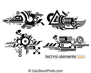 elemetnts, techno, conjunto, dos