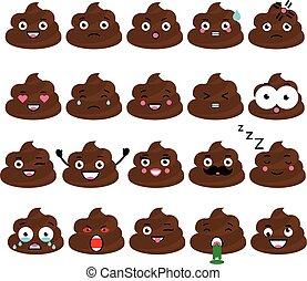 elemets, vector, turd, diseño, emoticons, lindo, set., mierda, emoji