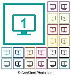 elemi, bemutatás, lakás, szín, ikonok, noha, négyszög, keret