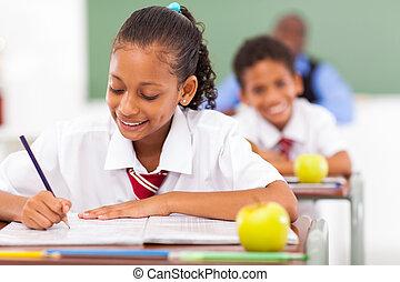 elemi iskola, diákok, alatt, osztályterem