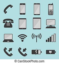 elenco, telecomunicazione, icone