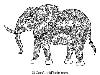 Elephan - Zendoodle design of elephant line art design for...